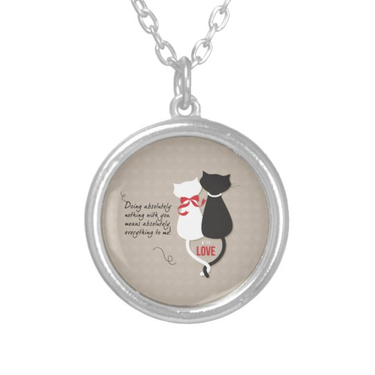Cats in Love Silver Plated Necklace