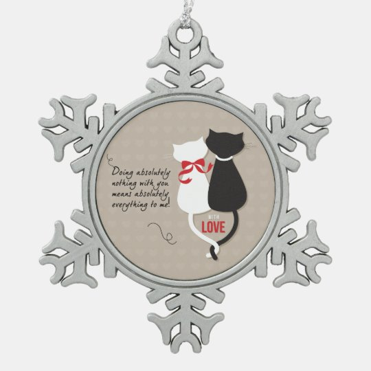 Cats in Love Snowflake Pewter Christmas Ornament