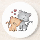 Cats in Love - Valentines Day Gift Coaster