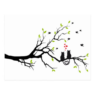 Cats in love with red hearts on spring tree postcard