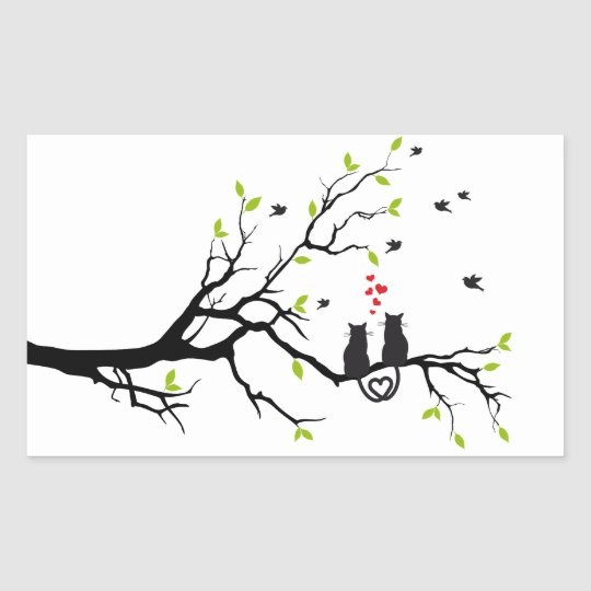 Cats in love with red hearts on spring tree sticker