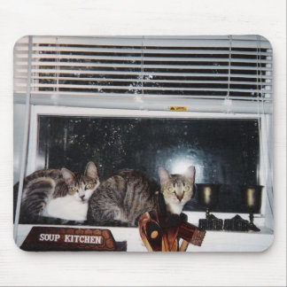 Cats in the Kitchen Window Mouse Pad