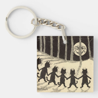 Cats in the Moonlight Keychain