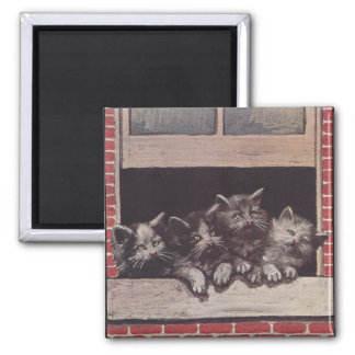 Cats in the Window Vintage Magnet