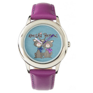 Cats Kids Stainless Steel Watch Leather Strap