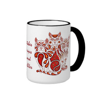 Cats kitten red folk delft Patches/Stripes/Bobbles Ringer Coffee Mug