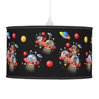Cats Kittens in Alien Spaceship UFO Sci-fi Scene Pendant Lamp