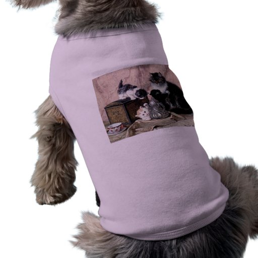 cats kittens playing tea party antique painting dog shirt