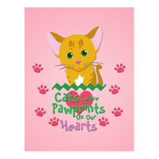Cats Leave Pawprints Postcard