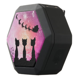 Cats looks to the sky to Santa Claus Black Bluetooth Speaker