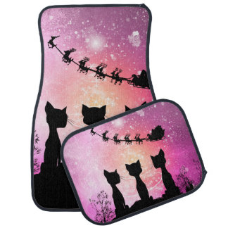 Cats looks to the sky to Santa Claus Car Mat