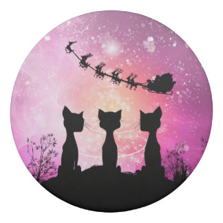 Cats looks to the sky to Santa Claus Eraser