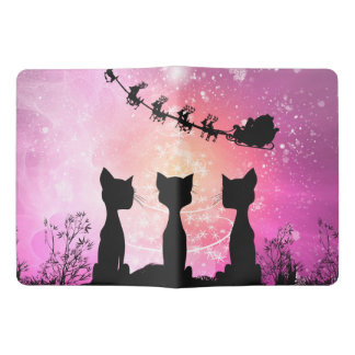 Cats looks to the sky to Santa Claus Extra Large Moleskine Notebook