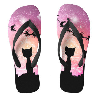 Cats looks to the sky to Santa Claus Flip Flops