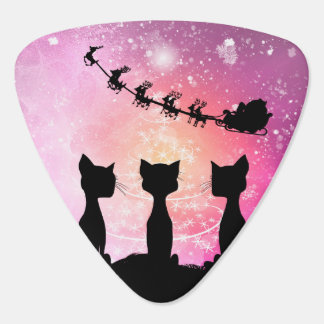 Cats looks to the sky to Santa Claus Guitar Pick
