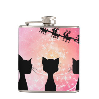 Cats looks to the sky to Santa Claus Hip Flask