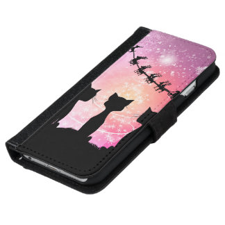 Cats looks to the sky to Santa Claus iPhone 6 Wallet Case