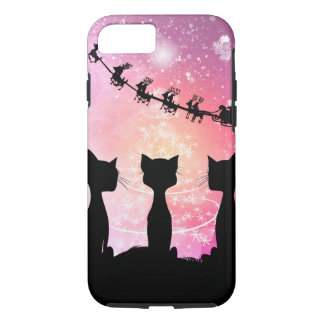 Cats looks to the sky to Santa Claus iPhone 8/7 Case