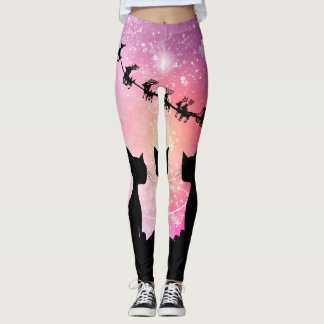 Cats looks to the sky to Santa Claus Leggings