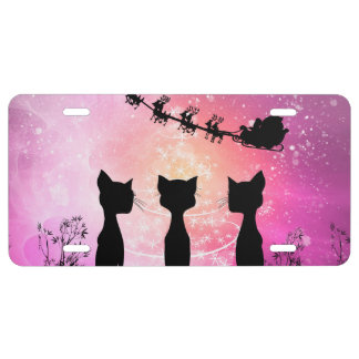 Cats looks to the sky to Santa Claus License Plate
