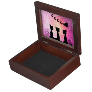 Cats looks to the sky to Santa Claus Memory Box
