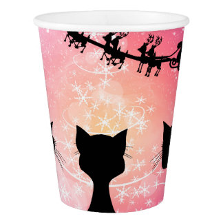 Cats looks to the sky to Santa Claus Paper Cup