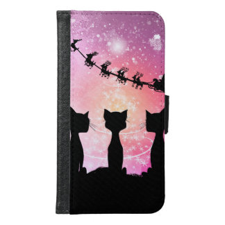 Cats looks to the sky to Santa Claus Samsung Galaxy S6 Wallet Case