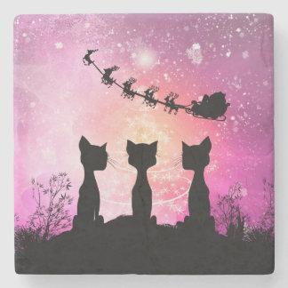 Cats looks to the sky to Santa Claus Stone Coaster