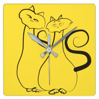 Cats Love Romantic Yellow Black Couple Hand Drawn Square Wall Clock