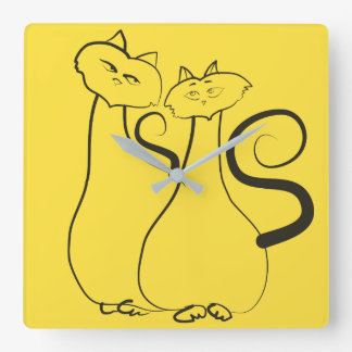 Cats Love Romantic Yellow Black Couple Hand Drawn Wallclocks