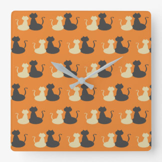 Cats Love Silhouette Pattern Orange Cool Trendy Square Wall Clock