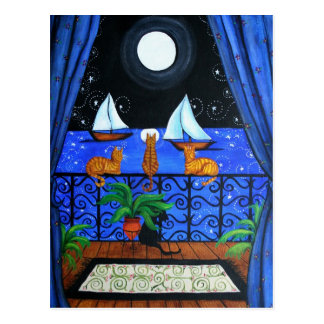 Cats Magical Night Nite Magic Postcard