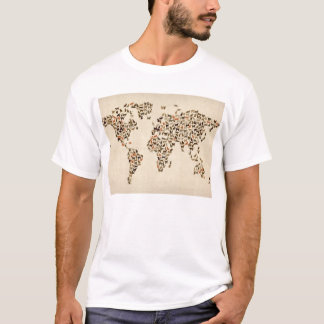 Cats Map of the World Map T-Shirt
