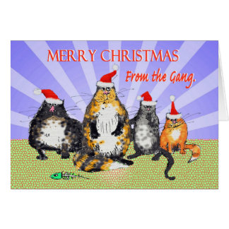 Cats, merry Christmas from the gang, humor Card