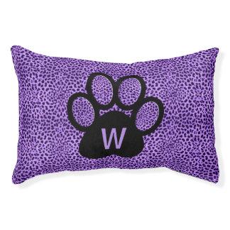 Cat's Monogrammed Purple on Purple Cheetah Pet Bed