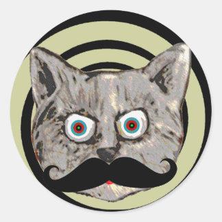 cat's mustache round sticker