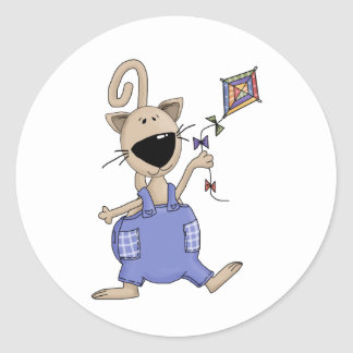 Cats 'n' Dogs · Cat with Kite Classic Round Sticker
