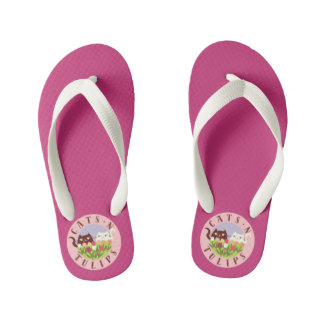 Cats N Tulips Floral Cute Funny Spring Pink Girly Kid's Flip Flops