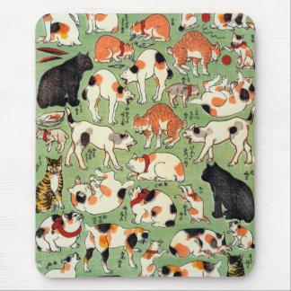 Cats of The Edo era, Utagawa Yoshifuji, Ukiyo-e Mouse Pad