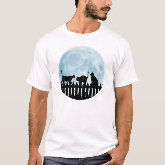 Cats on A Fence and Blue Moon T-Shirt