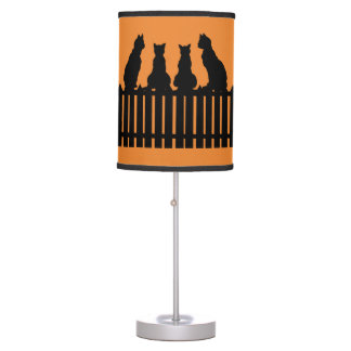 Cats on a Fence Halloween Lamp