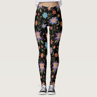 Cats on colorful flowers leggings