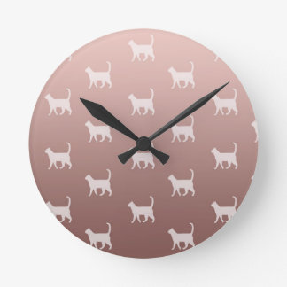 Cats on Rose Gold Round Clock
