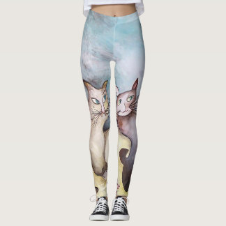 Cats, original art, pastel colours, cute leggings