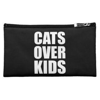 Cats Over Kids Funny Quote Makeup Bag