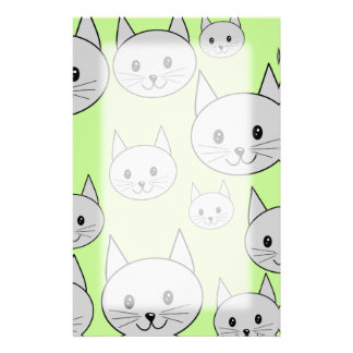 Cats Pattern in Green and Gray. Stationery