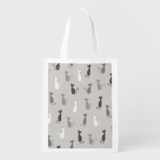 Cats pattern reusable grocery bag