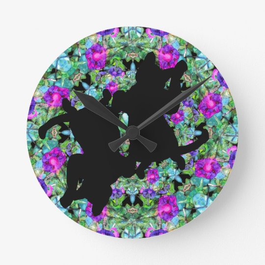 Cats Playing in the Flower Garden Flowers Wallclock