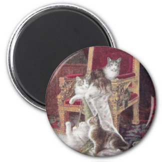 Cats Playing on Red Velvet Chair Vintage Magnet