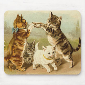 Cats Playing Vintage Illustration Mouse Pad